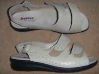 Hotter Womens Easy Sling-Back Sandal In Soft Beige Leather