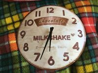 Large Wall Clock, vintage style advertisement