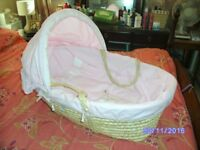 Moses Basket, Wooden Stand, Extra Bedding & Matching Cot Bumper
