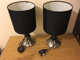 Two black Bedside lamps