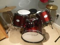 """Drum Kit (Stag Rocket Music) - Including 5 drums, stool, 1 X zildjan ZXT 20"""" ride cymbal"""