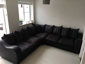 Black sofa,scatter cushions,,corner sofa..in great condition,,will wash all cushions before sale