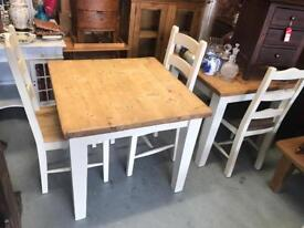 Antique pine top painted farmhouse dining table and 4 chairs