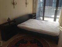King size ikea malm bed with two side selves