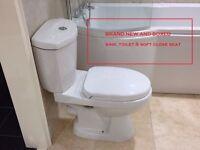 BNIB White Sink & Toilet & Soft close Toilet Seat