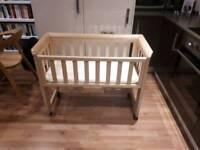 Troll Bedside Crib / Cosleeper (Natural wood) including one John Lewis mattress