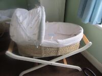 Moses basket with folding wooden stand