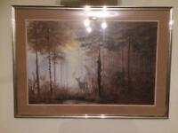 Large framed stag picture 89x64cm