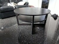 Round Black Wooden Coffee Table