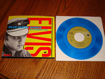 ELVIS BLUE SUEDE SHOES PICTURE SLEEVE WITH BLUE VINYL PROMO 45