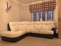 Dfs leather right hand corner sofa swivel chair & footstool