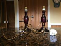 Pair of mahogany table lamps for sale - just £10!