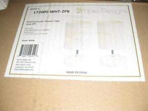 "Simple Designs Small Stone Look ""Stonies"" Table Lamp. 2 pack. White. NEW."
