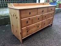 Long Pine Sideboard - Solid Pine Long Chest Of Draws - Large Pine Unit - Very Heavy