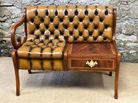 Tan Leather Vintage Telephone Seat Table