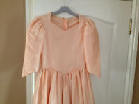 EXCELLENT CONDITION KIDS FLOWER GIRL/BRIDESMAID PEACH LIKE COLOUR DRESS FOR AGE 10 - 12