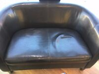 Brown leather sofa , slightly used but in very good condition . Two seater .