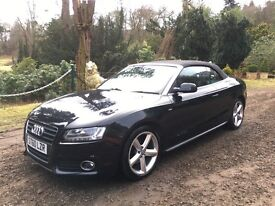 Audi A5 S-Line 2.0L TDI Cabriolet Convertible in Black, FSH, one lady owner