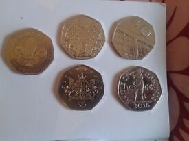 Rare 50p fifty pence coins