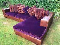 Italian Designer Corner Sofa with Genuine Brown Leather Frame RRP £2895
