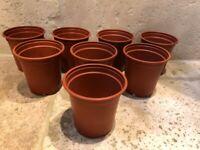 """Set of 8 cheap plastic plant grow pots - 9cm (3.5"""") diameter - NEW"""