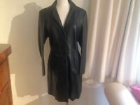 M &S Soft Black Napa Leather Coat Size 12