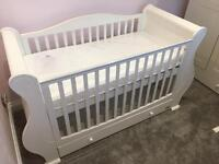 Tutti Bambini Marie Cot Bed, Wardrobe, Chest Changer, Toy Box And Shelf. White Nursery Furniture Set