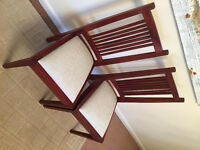 6 Dining Table chairs for sale - Mahogany colour, beige seat pads.