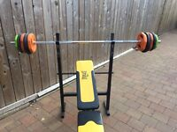 Weights bench, bar and weights