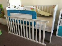 Cot bed, mattress 70x140 and bed rail