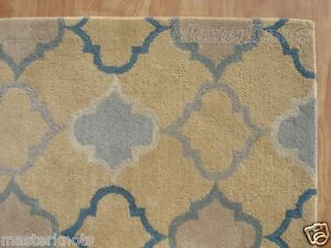 Brand New Scroll Yellow Gold Gray Blue 3x5 ~ 5x3 Handmade Woolen Area Rug Carpet