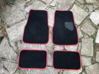 UNIVERSAL CAR FLOOR MATS - BLACK WITH RED TRIM