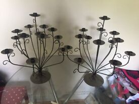Pair of Black Metal Candelabras