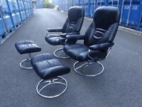 2x Ekornes Stressless Retro Vintage Armchairs In Excellent Condition