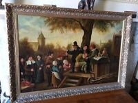large antique 19th century oil painting, stunning quality