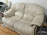 LEATHER 2 SEATER SOFA, RECLINER & FOOTSTOOL