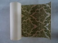 3 rolls of Vintage Damask Olive Green flocked Sanderson Wallpaper - Rare