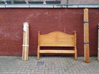 """Solid pine wood bed frame £70 4ft6"""" standard double"""