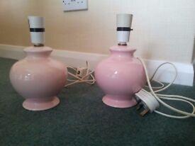 2 pink Dorma bedside table lamp bases