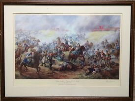 Framed Military Battle Prints of paintings by Dawn Waring and signed by artist.