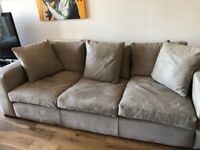 SOFA RAFT Large SUADE LEATHER Good Condition Grey £3500 when new PICKUP Greenwich LONDON