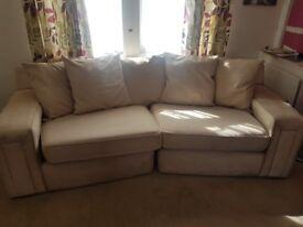 Lovely big cream suede sofa