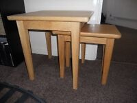 small oak nest of 2 tables