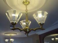 Stunning Pair of Crystal and Solid Brass Ceiling Lights