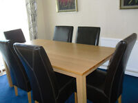 Large G-Plan Cosmopolitan dining table and six leather chairs