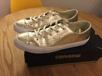 Gold coloured converse all stars (size 5.5)