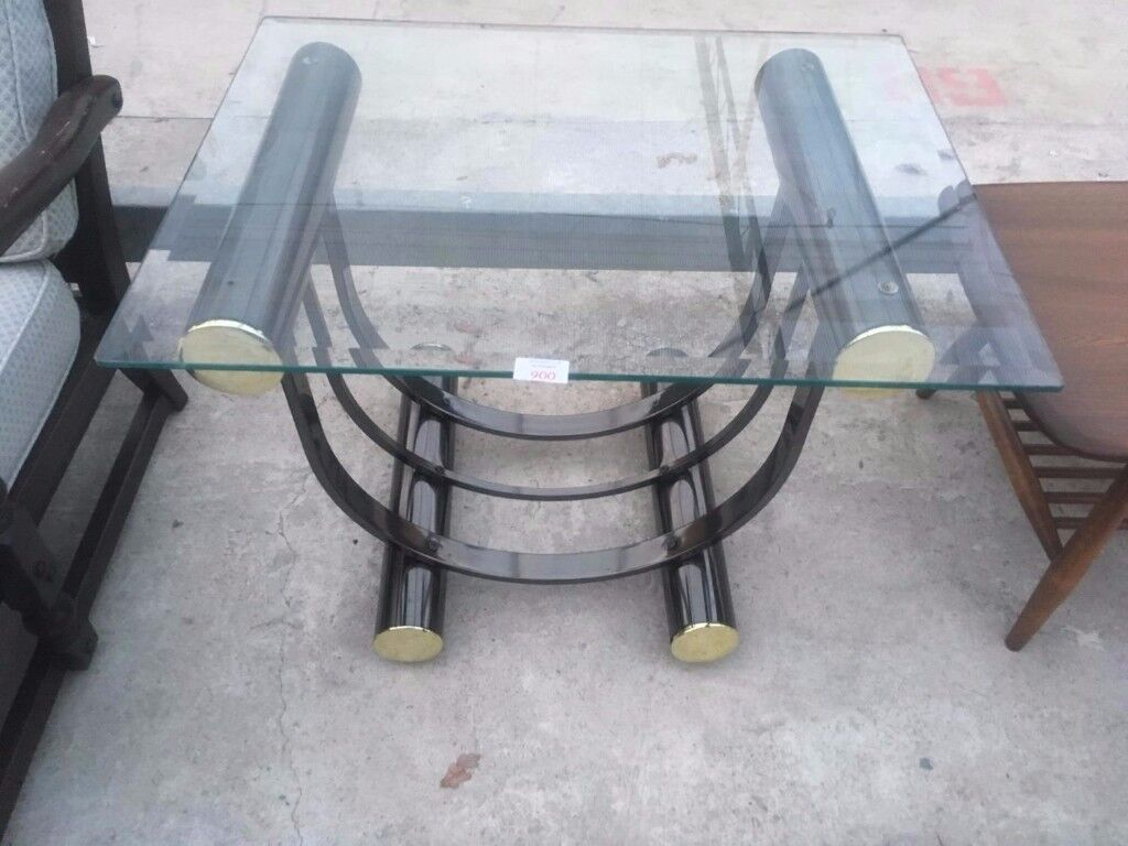Modern Black Metal look Occasional Coffee Side Glass Top Table Delivery Available