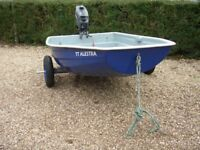 6ft Fibreglass Boat Dinghy Tender , Outboard Motor, Launch Trolley