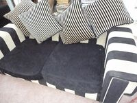 DFS large sofa Black and biscuit with cushions