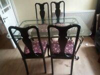 Glass dining table with 4 chairs (DELIVERY AVAILABLE)